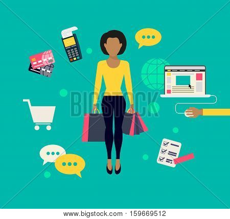 E-commerce flat modern concept illustration online shopping. Woman holds shopping bags isolated on green with ecommerce symbols such as payment terminal, laptop, cart, credit cards and task list
