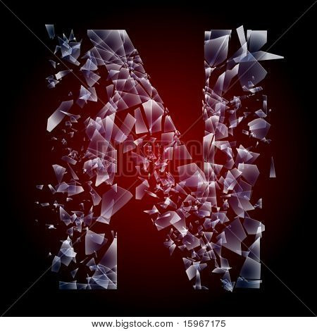 Alphabetic characters of broken glass. Sensitive to the background. Character  n