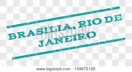 Brasilia, Rio De Janeiro watermark stamp. Text caption between parallel lines with grunge design style. Rubber seal stamp with dust texture.