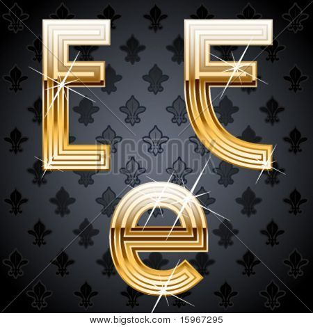 Shiny golden alphabet on a chic victorian background. Character e
