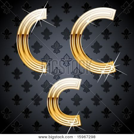 Shiny golden alphabet on a chic victorian background. Character c