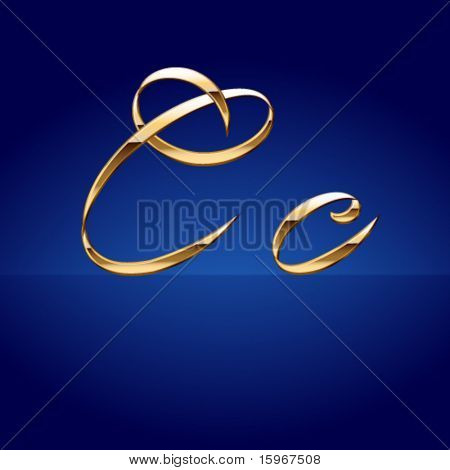 Old styled decorative characters of pure gold. Character c