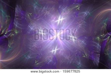 abstract bright star purple shades on the background of purple yellow blue green diffuse patterns