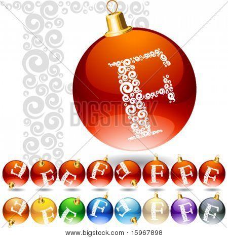 Versatile set of alphabet symbols on Christmas balls. Letter f