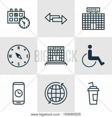 Set Of 9 Transportation Icons. Can Be Used For Web, Mobile, UI And Infographic Design. Includes Elements Such As Compass, Direction, Date And More.