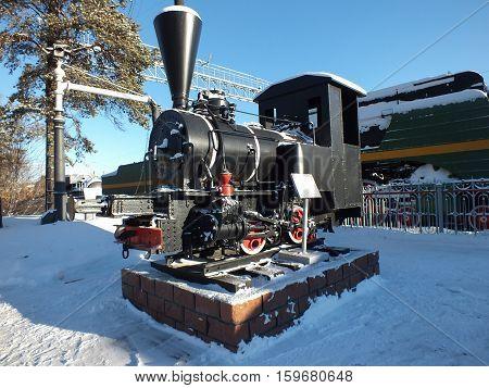 A black saddle tank in winter, Novosibirsk, Siberia