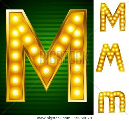 Letters for signs with lamps. Letter m