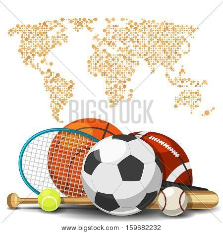 World sport deportes concept. Sports equipment with map background. Sport basketball and tennis, football and baseball illustration