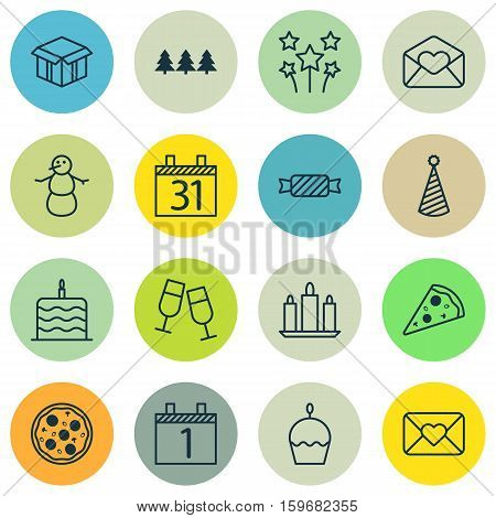 Set Of 16 Celebration Icons. Can Be Used For Web, Mobile, UI And Infographic Design. Includes Elements Such As Slice, Tree, Flame And More.