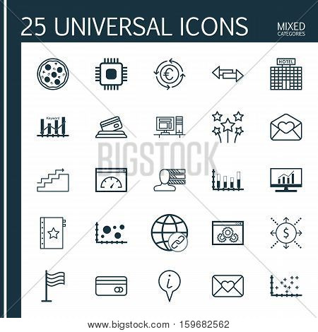 Set Of 25 Universal Editable Icons. Can Be Used For Web, Mobile And App Design. Includes Elements Such As Keyword Optimisation, Website Performance, Money And More.