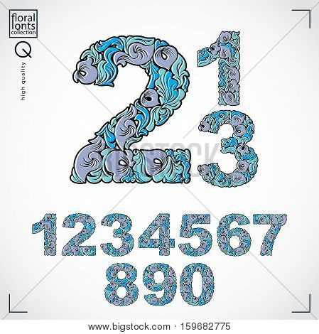 Set Of Vector Ornate Numbers, Flower-patterned Numeration. Blue Characters Created Using Herbal Text