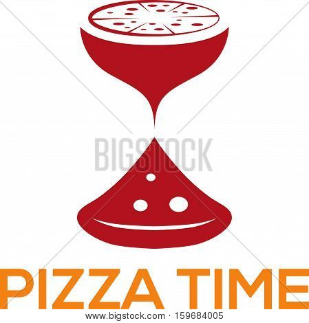 Pizza Time Vector Design Template With Sandglass