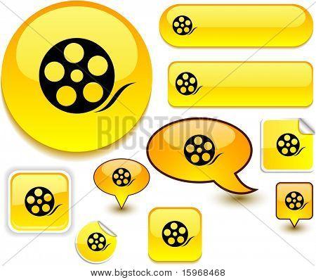 Media vector glossy icons.