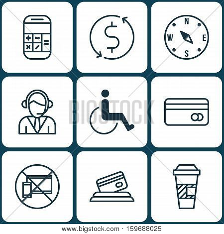 Set Of 9 Airport Icons. Can Be Used For Web, Mobile, UI And Infographic Design. Includes Elements Such As Math, Cup, No And More.
