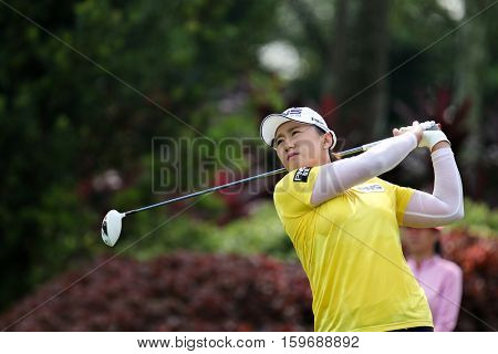 KUALA LUMPUR, MALAYSIA - OCTOBER 29, 2016: Amy Yang of South Korea tees off at the TPC Golf Course at the 2016 Sime Darby LPGA Malaysia golf tournament.