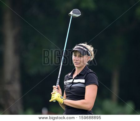 KUALA LUMPUR, MALAYSIA - OCTOBER 29, 2016: Ryann O'Toole of the USA reacts after her tee off at the TPC Golf Course on Round 3 of the 2016 Sime Darby LPGA Malaysia golf tournament.