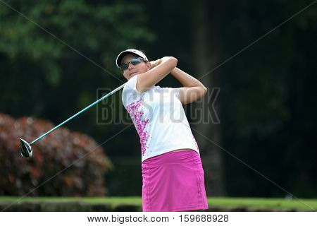 KUALA LUMPUR, MALAYSIA - OCTOBER 29, 2016: Brittany Lang of the USA tees off at the TPC Golf Course on Round 3 of the 2016 Sime Darby LPGA Malaysia golf tournament.