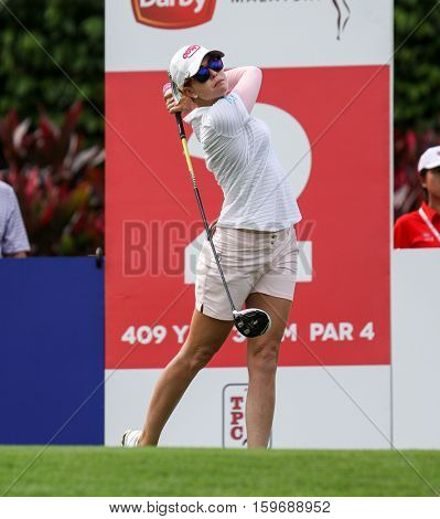 KUALA LUMPUR, MALAYSIA - OCTOBER 29, 2016: Paula Creamer of the USA tees off from the 2nd T-Box of the TPC Golf Course at the 2016 Sime Darby LPGA Malaysia golf tournament.