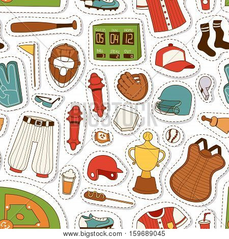 Vector cartoon illustration baseball bat, ball and glove competition, object patches. Seamless pattern game team symbol softball play. Cartoon baseball icons design equipment leather glove.