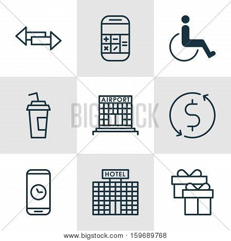 Set Of 9 Transportation Icons. Can Be Used For Web, Mobile, UI And Infographic Design. Includes Elements Such As Paralyzed, Accessibility, Box And More.