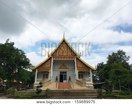 View the landscape in front of the temple sanctuary. Chiang Rai, Thailand