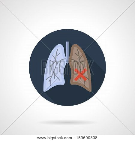 Symbol of normal and lung cancer. Harm of smoking for internal organs and human health. Danger of smoke. Effects of an unhealthy lifestyle. Round blue flat design vector icon.