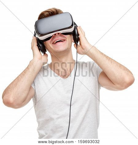 Man with virtual reality goggles. Studio shot isolated on white