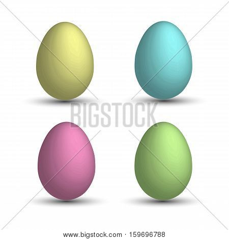 Set a realistic 3D eggs. Yellow egg, pink egg, blue egg, green egg.Easter eggs . Vector EPS-10
