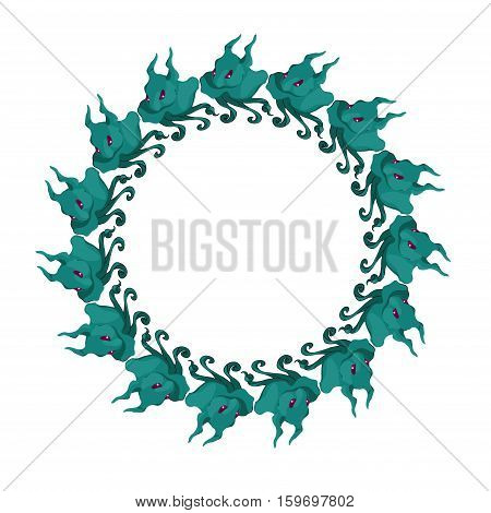 Round frame made up of cute monsters with tentacles. Vector illustration.