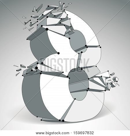 3D Vector Digital Wireframe Monochrome Number 8 Broken Into Different Particles, Geometric Polygonal