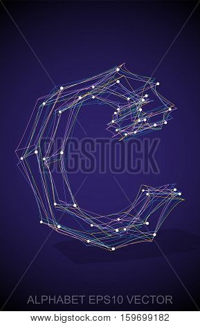 Abstract illustration of a Multicolor sketched lowercase letter C with Transparent Shadow. Hand drawn 3D C for your design. EPS 10 vector illustration.