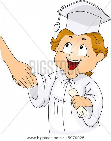 Illustration of a Little Graduate Shaking Hands with his Teacher