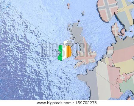 Ireland With Flag On Globe