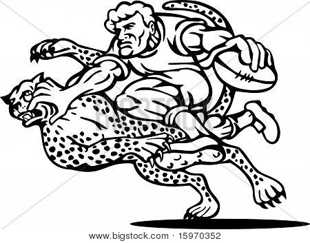rugby player running tackle by cheetah
