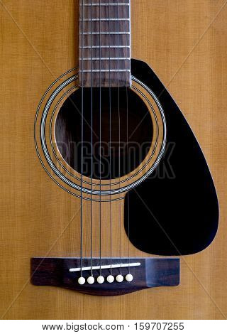 A closeup of an abstract classical acoustic guitar with strings