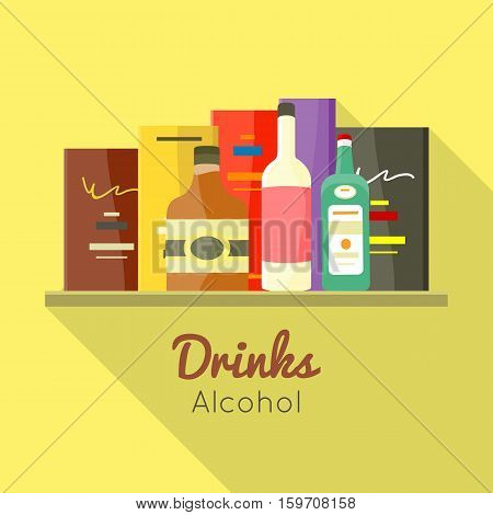 Drinks alcohol vector concept in flat design. Liqueur, wine, whiskey, brandy illustrations for beverages concepts, grocery store advertising, icons, infograqphic element. Isolated on white background.