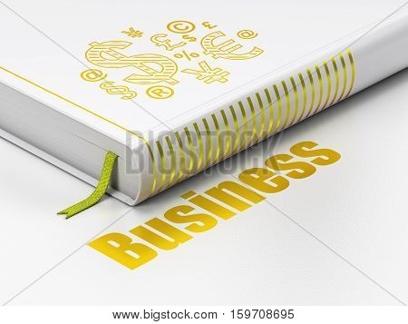 Finance concept: closed book with Gold Finance Symbol icon and text Business on floor, white background, 3D rendering