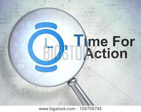 Timeline concept: magnifying optical glass with Hand Watch icon and Time For Action word on digital background, 3D rendering