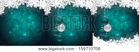 snowflakes backgrounds with hanging balls and snow. vector illustration