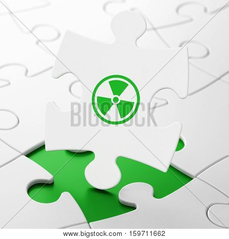 Science concept: Radiation on White puzzle pieces background, 3D rendering