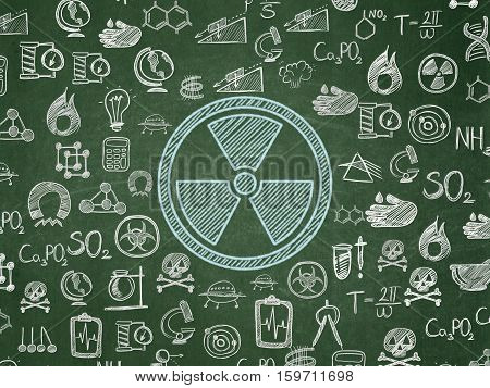 Science concept: Chalk Blue Radiation icon on School board background with  Hand Drawn Science Icons, School Board
