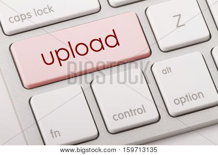 Upload word written on computer keyboard .
