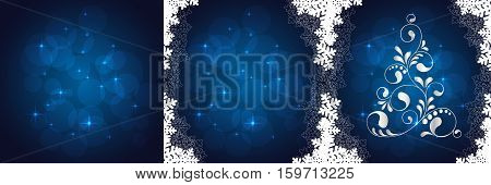Abstract Christmas tree. Greeting, invitation card. Simple decorative blue and silver. vector illustration