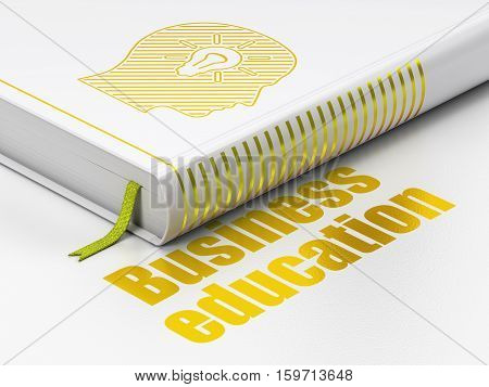 Studying concept: closed book with Gold Head With Light Bulb icon and text Business Education on floor, white background, 3D rendering