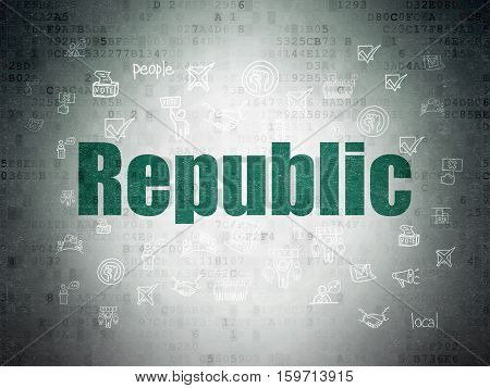 Politics concept: Painted green text Republic on Digital Data Paper background with  Hand Drawn Politics Icons