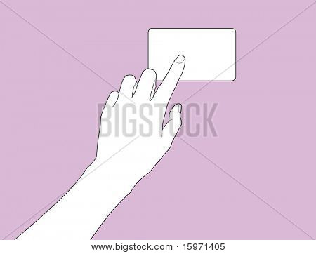 hand point to the business card