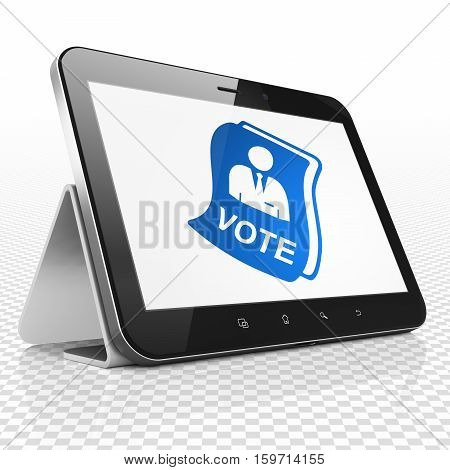 Politics concept: Tablet Computer with blue Ballot icon on display, 3D rendering