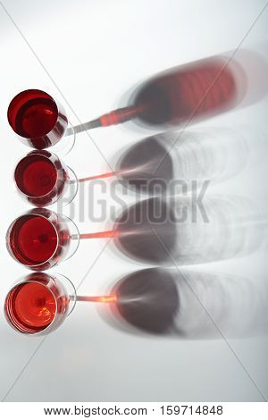 different wine glasses view from top isolated on white background