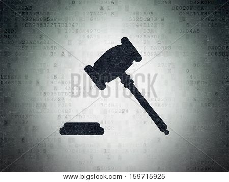 Law concept: Painted black Gavel icon on Digital Data Paper background