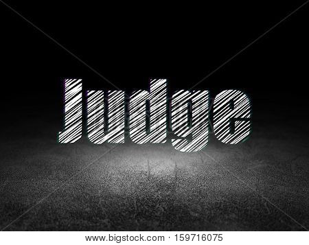Law concept: Glowing text Judge in grunge dark room with Dirty Floor, black background